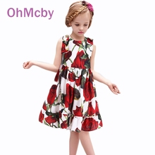2016 Fashion Brand Princess Dress Baby Girl Dress Rose Flower Print Kids Dresses for Girls Clothes
