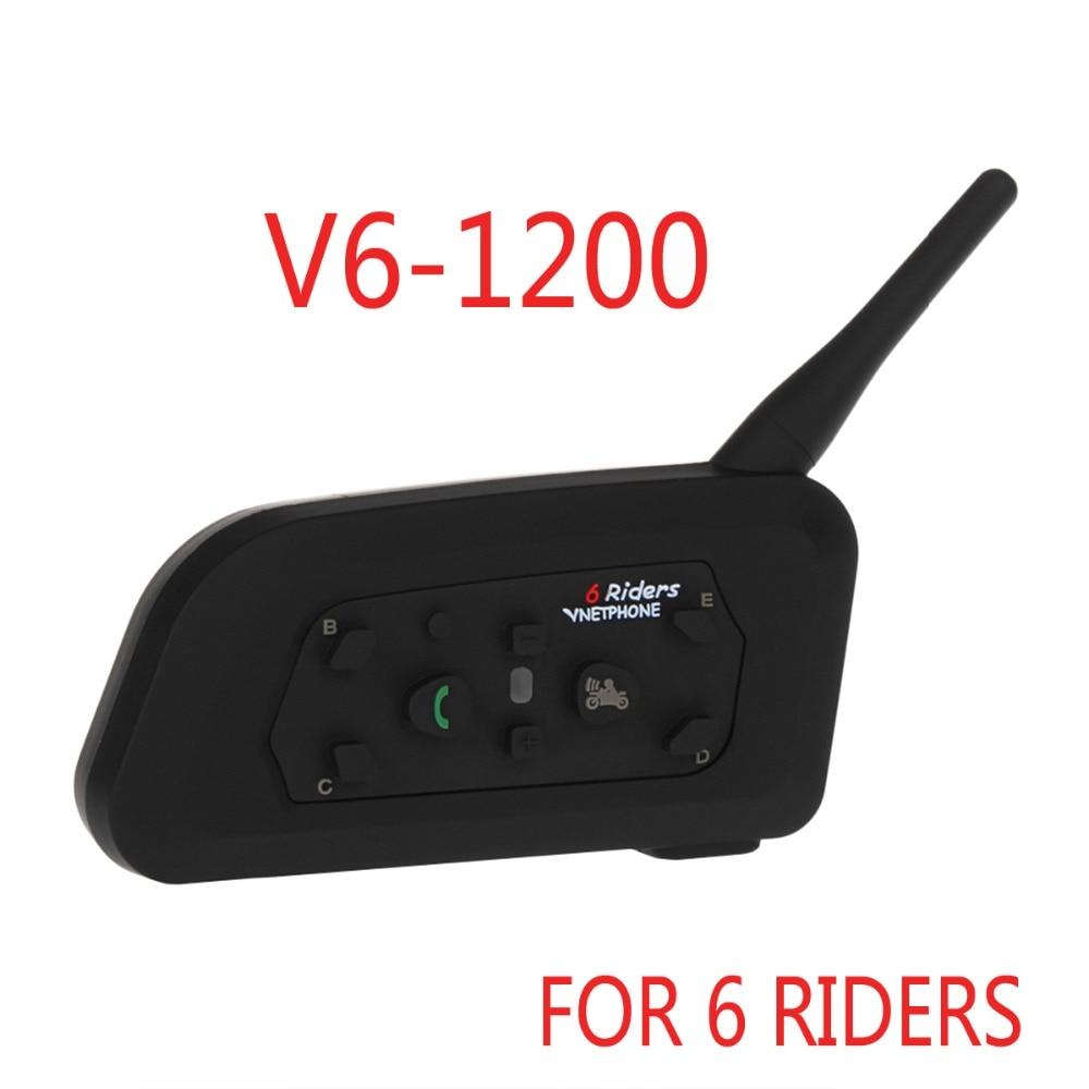 2018 nouveau Vnetphone V6 Moto casque talkie-walkie maximum interphone 1200 mètres soutien 6 des gens qui parlent à la même temps