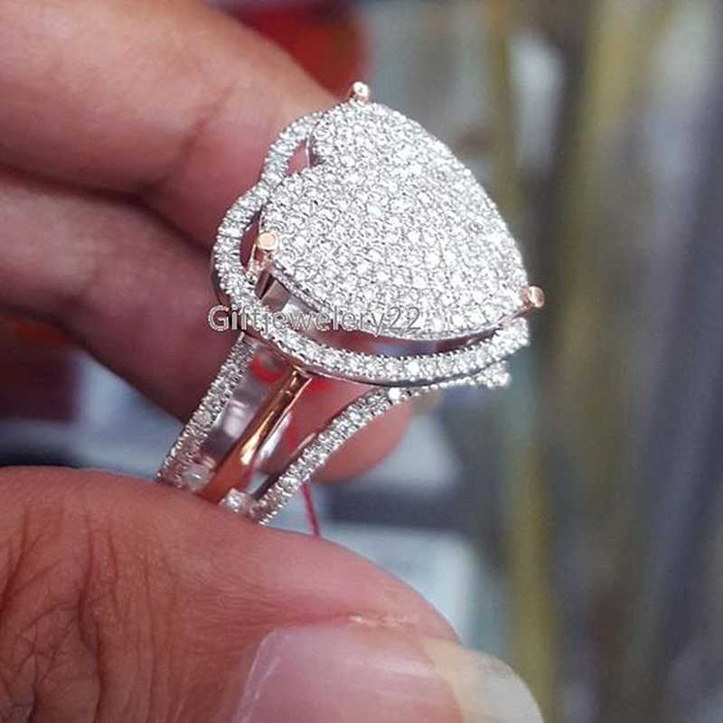 Delicate Love Heart Shaped Crystal Rings for Women Charming Promise Engagement Ring Luxury Jewelry Wedding Band Accessory Z5M330