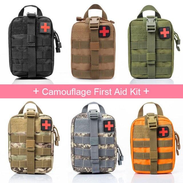 Camouflage Trousse de Premiers Soins Médicaux De Voyage Tactique Aventure Taille Pack Escalade Sac Cas D'urgence Kit de Survie 21*15*11 cm