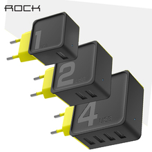 1 2 4 USB Charger Rock Universal Quick Charge Travel Adapter 5V1A 5V2.4A 5V4A EU Plug For iPhone 6 7 8 Samsung S8 Plus Xiaomi