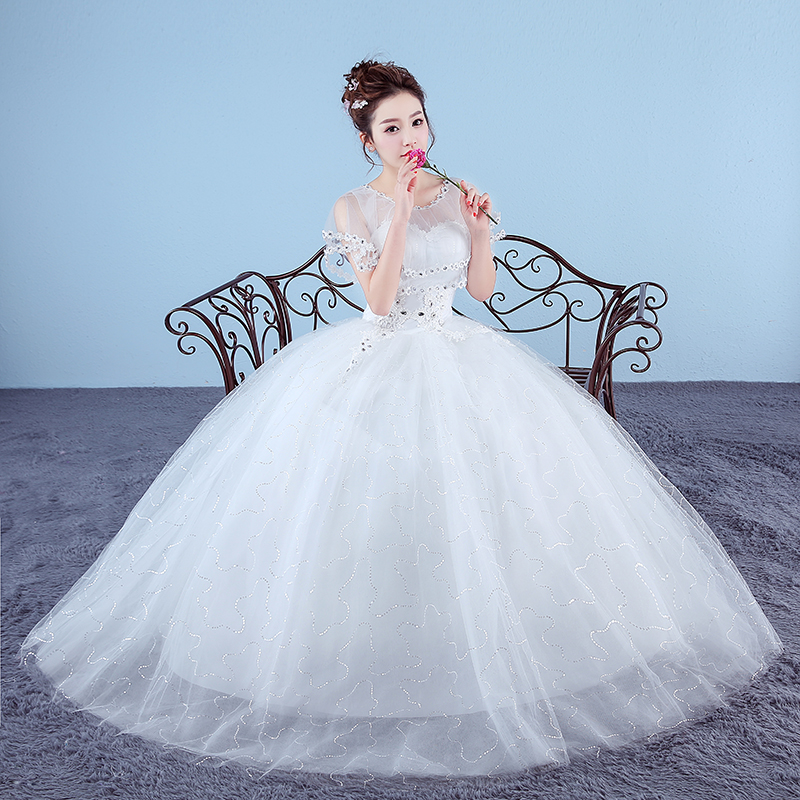 Red/White Wedding Dress Bride Fashion Princess Lace Up Dress Ball Gown Wedding Dresses
