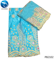 LIULANZHI african woman bazin dress african getzner fabric tulle lace fabric cotton sky blue with beads 7yards/set PB21