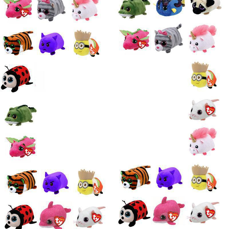 10CM Mini teeny tys Ty Plush Toys Beanie Boos Big Eyes Dog panda unicorn Pocket TSUM Candy pig Stuffed Doll TY Baby Kids Gift цена