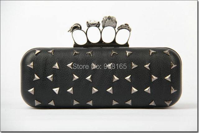 free shipping 2014 new rivet fashion brand women party handbag lady pu clutch evening bag skulls bag BB5715