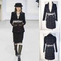 Женский комплект: укороченный топ и юбка, Модный комплект из 2 предметов, элегантная женская твидовая куртка, зимняя куртка + подходящая юбка