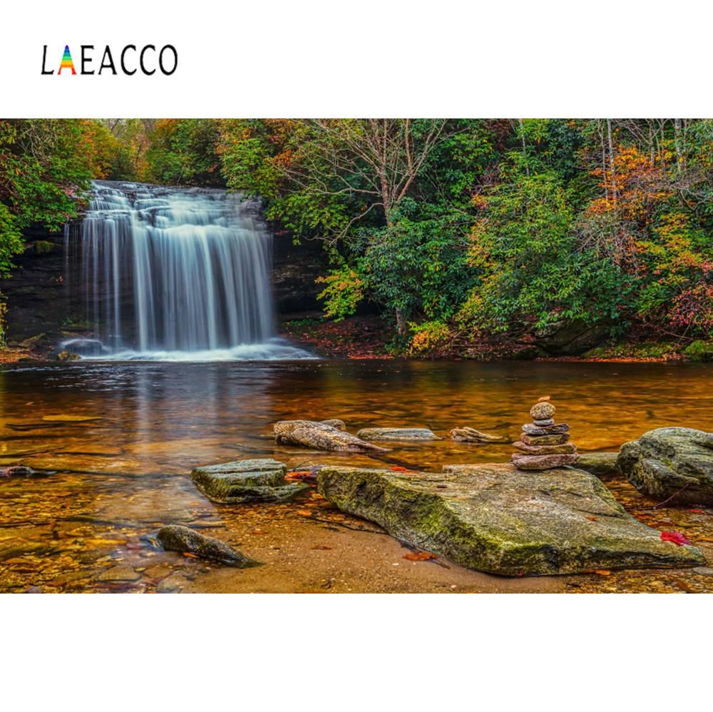 Us 367 8 Offlaeacco Natural Waterfall Tree Stone Lake Green Wallpaper Scenic Photography Backgrounds Photographic Backdrops For Photo Studio In