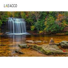 Laeacco Natural Waterfall Tree Stone Lake Green Wallpaper Scenic Photography Backgrounds Photographic Backdrops For Photo Studio