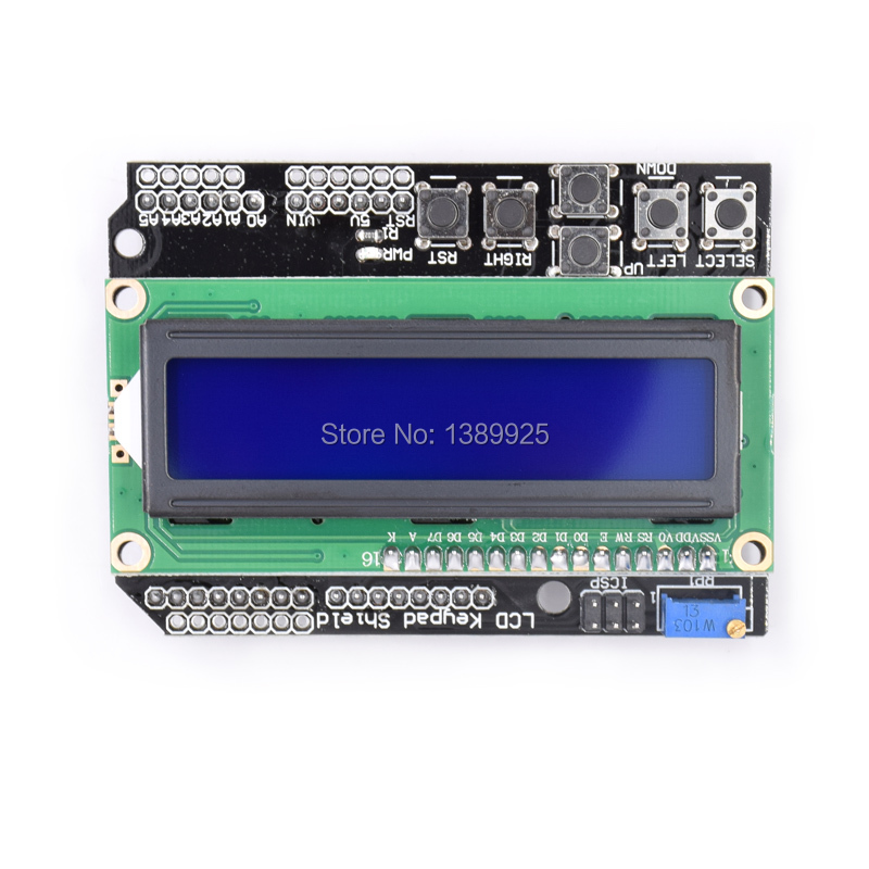 Wholesale LCD Keypad Shield LCD1602 LCD 1602 Module Display For Ar-duino ATMEGA328 ATMEGA2560 Raspberry Pi UNO Blue Screen