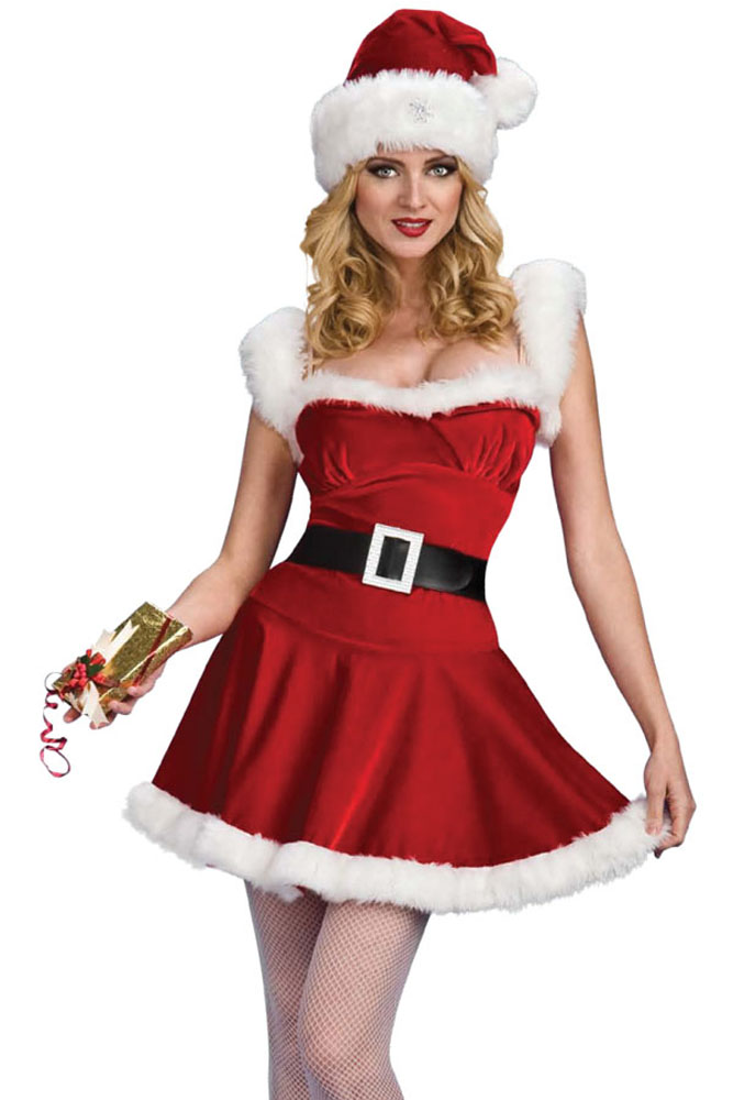 new year christmas jingle bell costume adult sexy velvet fur party dress with hat belt christmas costume fancy dress women h7273