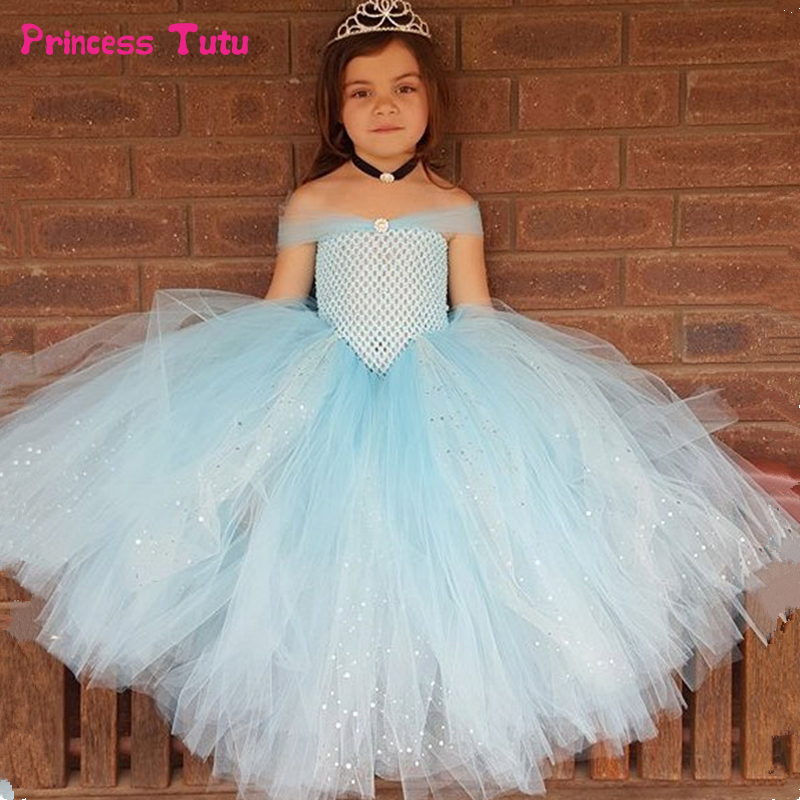 Light Blue Girls Tutu Dress Glittery Tulle Cinderella Princess Dress Kids Tutu Dresses for Girls Wedding Party Ball Gown Dress бра n light bx 0143 3b