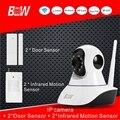 Hot Sistema de Alarme de Segurança Câmera IP + 2 Sensor de Porta + 2 Monitor de Infravermelho Sensor De Alarme Wi-fi Sistema de Câmera de Vigilância CCTV BW02S