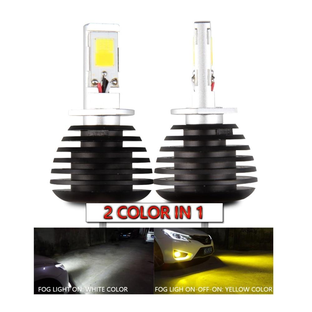 H3 LED Fog Light Bulb Yellow 3000K White 6000K Dual Colors for Trucks Cars H3 Fog Lamps Bulbs DRL Daytime Running Lights Kit Replacement 12V 30W 2800LM Super Bright COB Chips 6 Months Warranty【1797】