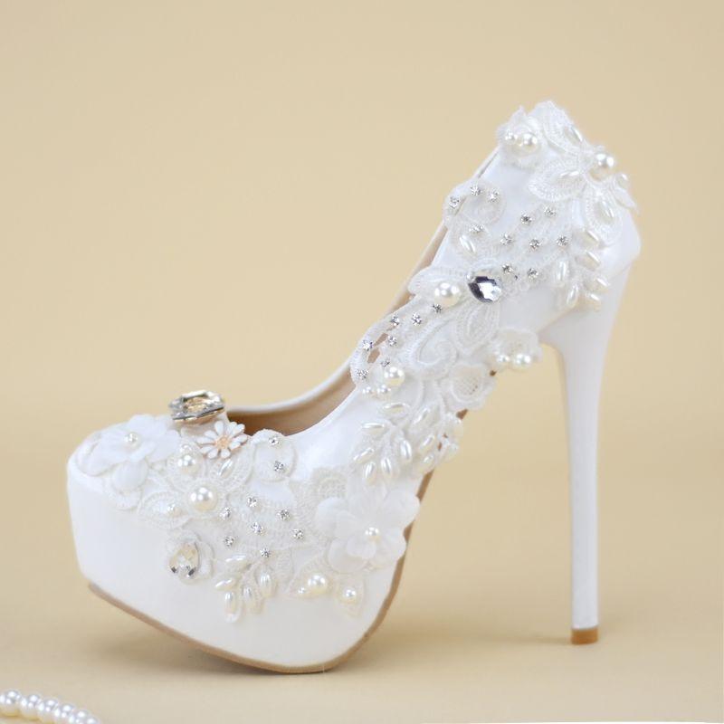 Dame Party Perlen Wei 14 Cm High Plattformen Heels Nq016 Handgemachte Schuhe WeiSpitze Frauen Hochzeit Pumpen e Dinner nN8Owv0m