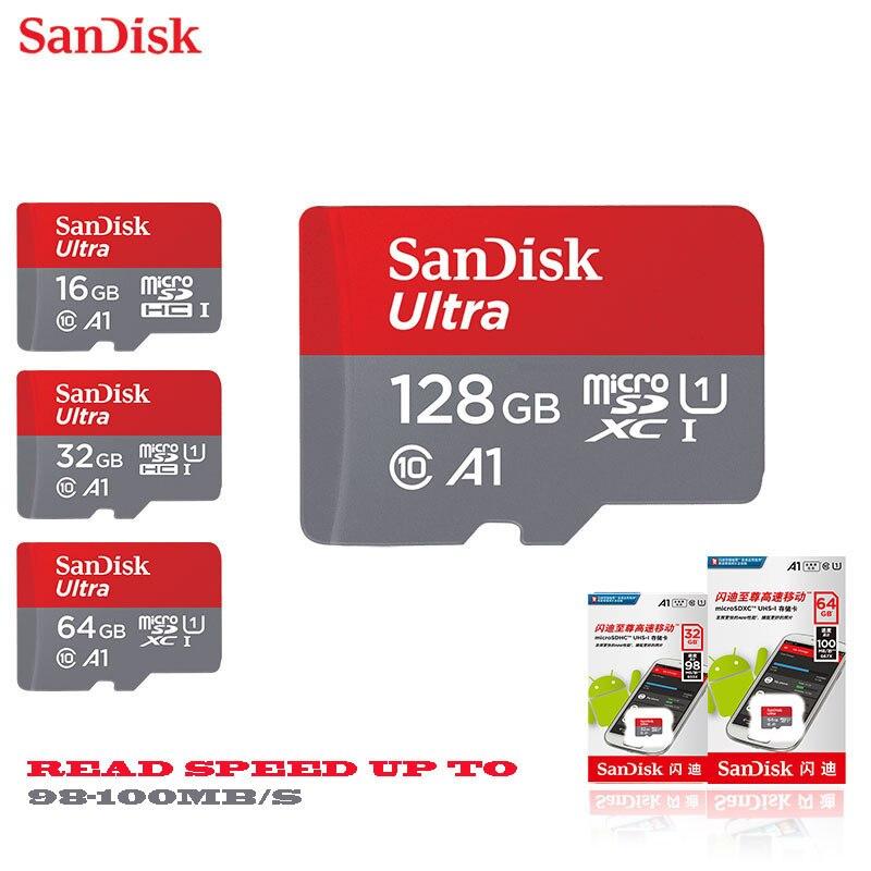 SanDisk micro sd 128 GB 64 GB 32 GB 16 GB 98 mb/s microsd TF cartão de memória flash usb 8 GB/class10 48 MB/s Produto Original grátis