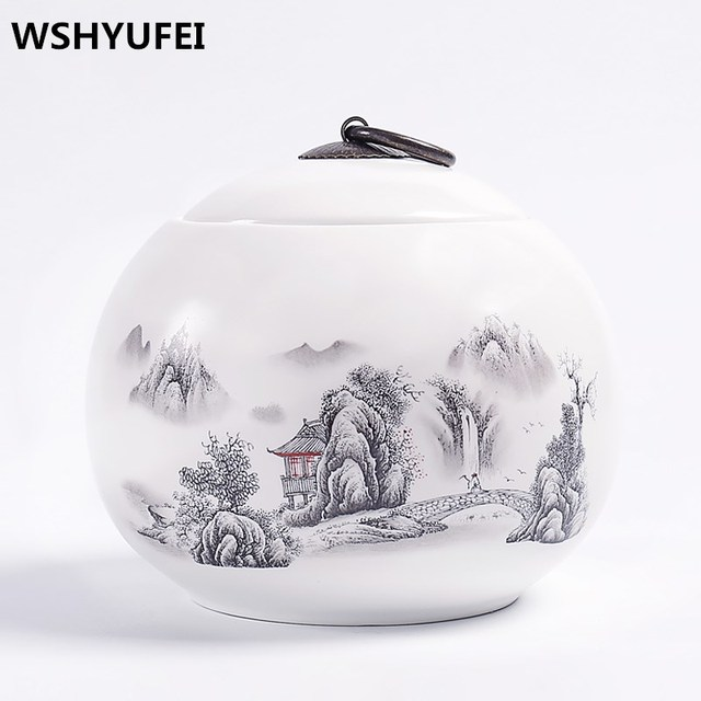landscape painting Ceramic Tea Caddy Vintage Portable Tea Jars High
