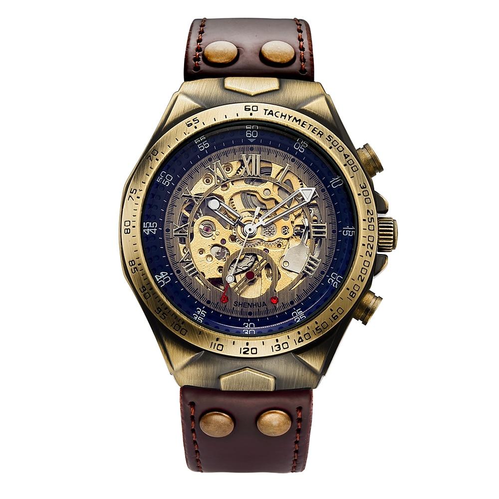 HTB1QI1NXE rK1Rjy0Fcq6zEvVXai Steampunk Bronze Automatic Watch Men Mechanical Watches Vintage Retro Leather Transparent Skeleton Watch Man Clock montre homme