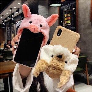 Urocze zwierzę osłona na czapkę dla Huawei P20 Lite P20 Pro P30 Pro p30 lite śliczny ciepły, puszysty pokrowiec etui na telefon dla P10 pluszowa lalka zabawka