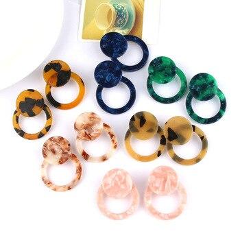 2019 New Fashion Leopard Grain Multi-Color Big Hook Acrylic Earrings Special Design Semicircle Resin Drop Earring 1