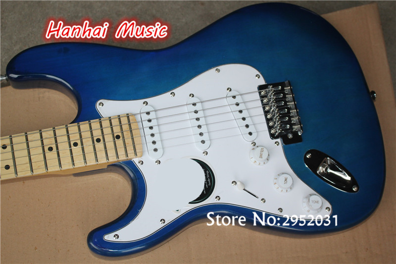 Hot Sale Custom Electric GuitarLeft Hand StyleDark Blue ColorWhite PickguardMaple FretboardChrome Hardwarecan Be Customize In Guitar From Sports