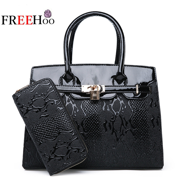 03c3788eac7a6d 2018 new fashion European and American famous brand lock buckle Platinum  two package female bag women