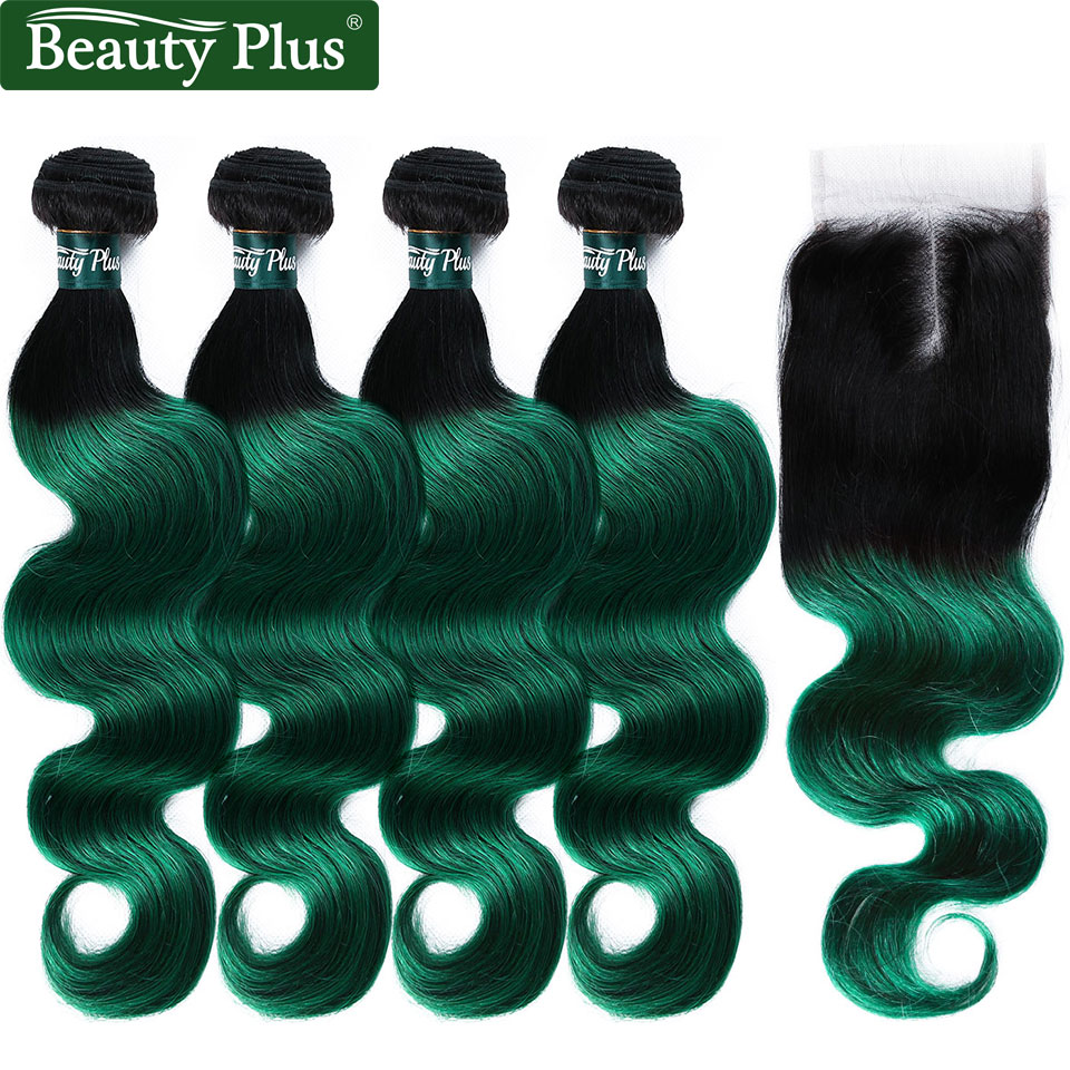 Beauty Plus Two Tones Ombre Human Hair 4 Bundles With Closure 1B Green Body Wave Hair Weave With Closure Dark Roots Non-Remy