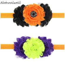Naturalwell Halloween Flower Headband Newborn Outfit Girl Hair bows Little girls Shower Gift Fall Shabby Headband Hair Bow HB600(China)