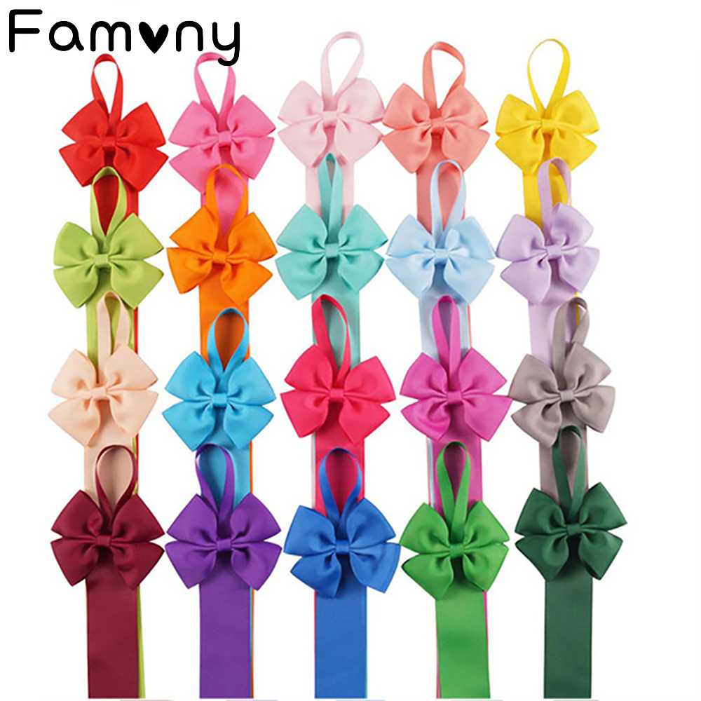 Kids Hair Bows With Long Tails Holder Hairclips Storage Belt Girls Hair Accessories High Quality Ribbon Bows Holders Barrettes