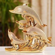 Modern ceramics Golden Dolphin Horse Swan Home  Decoration Crafts Animals Creative fairy garden home decoration Ornament