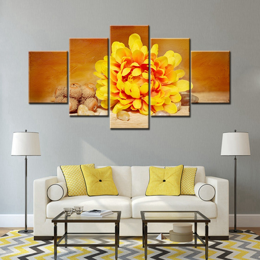 Yellow Chrysanthemum Flowers Oil Painting Print on Canvas Best ...