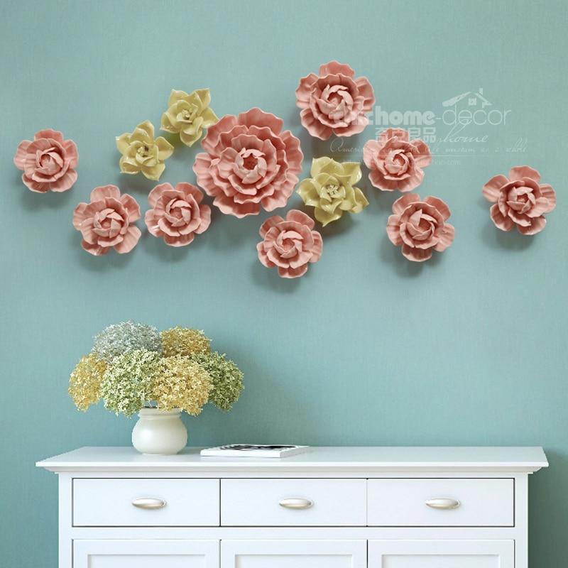 Ceramic Wall Flower Decor: European Ceramic Flower Wall Hanging Adornment White/red