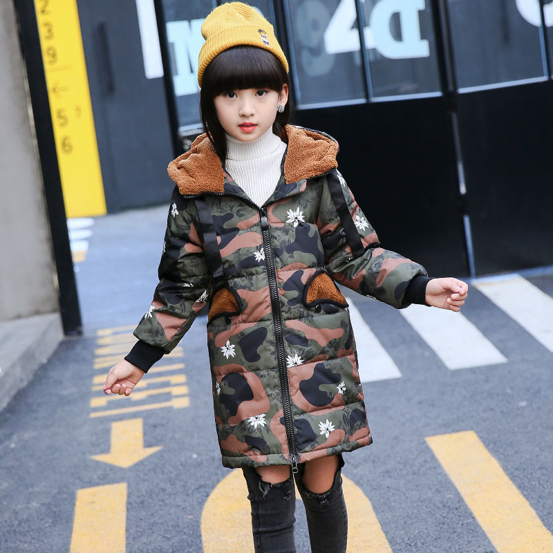 2017 Winter New Korean Version of The Warm 6-14Y Girls Down Jacket In The Long Paragraph Thickening Zipper Hat Camouflage Coat lucky panda 2016 woman winter cotton thickened slim slim down in the long coat coat of students lkb186