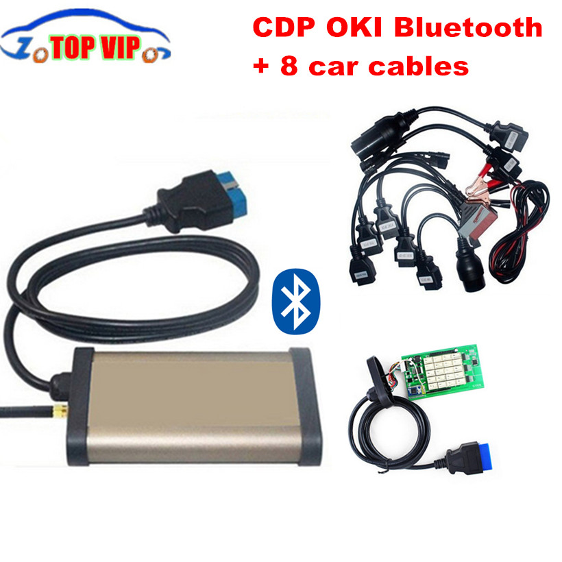 2018 Best 2015 R1 New Gold CDP bluetooth+OKI chip (M6636B OKI Chip) TCS CDP Pro plus+ Full set 8 car cables auto diagnostic tool цена