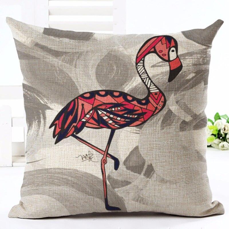 Moda Üslubu Tropik Flamingo Çap Atılan Yastıq Ev Yastığı - Ev tekstil - Fotoqrafiya 5