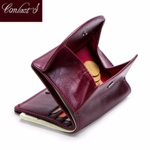 Contacts Genuine Leather small Wallet women short card holder wallets for women hasp coin purse mini Clutch bag portfel damski