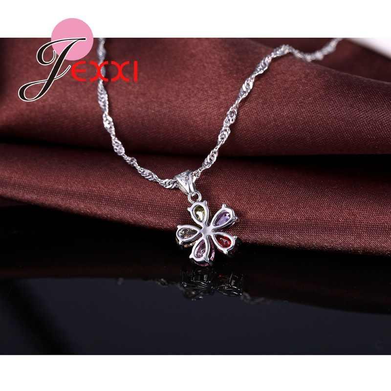Top Qualität Schmuck Set Glänzende Bunte Cubic Zirkon Kristall Blume Halskette Ohrringe Ringe Sterling Silber Braut Sets