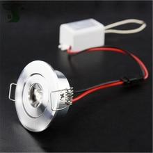 5 pçs/lote 110V 220V LED Mini LED spot light lâmpada do teto pode ser escurecido 1W 3W mini LED downlight branco, preto, prata Incluindo unidade