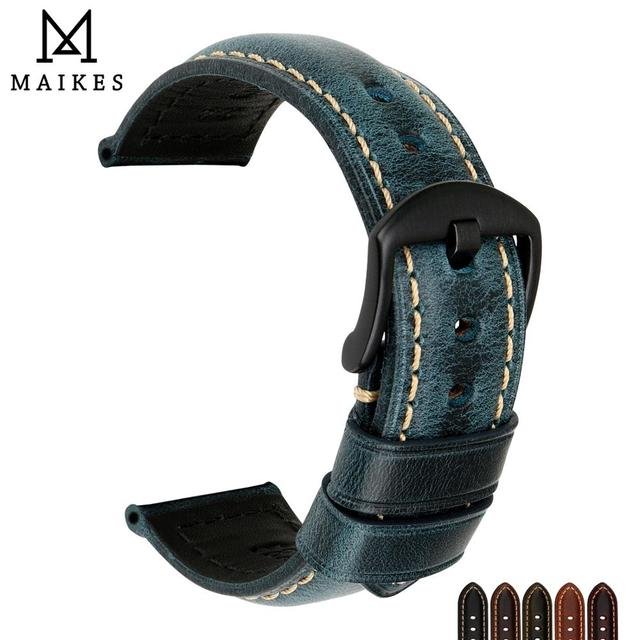 MAIKES Watch Accessories Watchband Retro Oil Wax leather Watch band 20mm 22mm 24mm 26mm Watch Strap Bracelet For Panerai MIDO