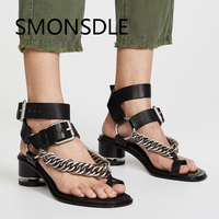 2018 Retro Rome Gladiator Sandals Black Chunky Heel Women Shoes Metal Chain Clip Toe Buckle Strap Ladies Summer Shoes Woman