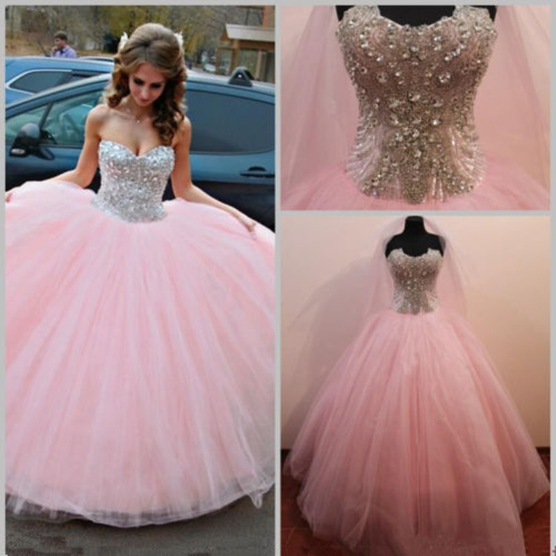 51b8fc50c43 MZY0218 Sparking Crystals Beaded Strapless Tulle Long Formal Prom  Quinceanera Party Homecoming Deb Dress-in Prom Dresses from Weddings    Events on ...