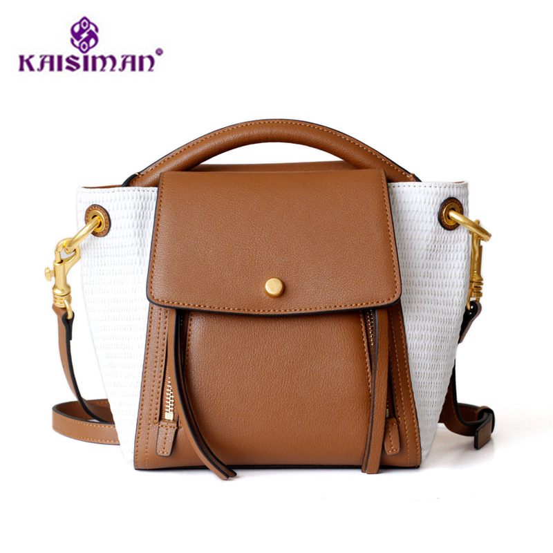 High Quality Genuine Leather Hand Bag Women Shoulder Bags Retro Stitching Contrast Color Small Bucket Tote Bag Sac A Main Bolsas active quick drying contrast color stitching high waisted leggings