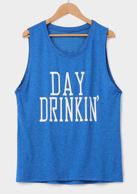 Day Drinkin' Letter Print Casual Tank