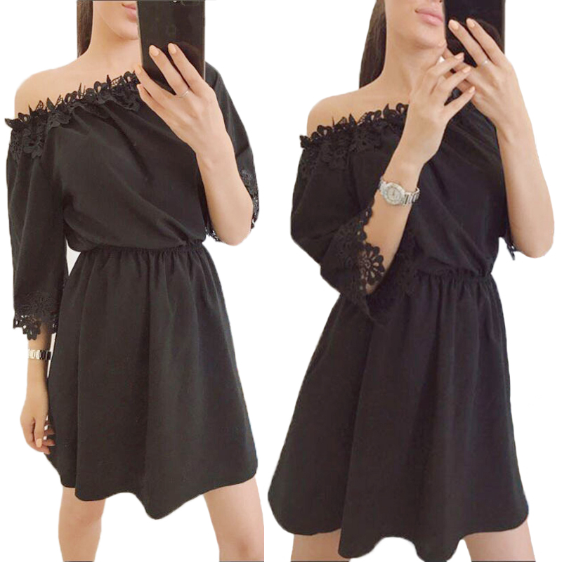 Summer woman Casual A-Line solid empire dress half sleeve lace Mini slash neck sexy shoulder off dress KH823645