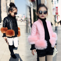 2017 New Autumn Winter Turtleneck Girls Faux Leather Padded Jacket Girl Faux Fur Decoration Girls Thickened