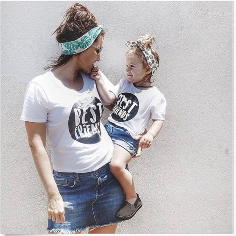 Summer Mother Daughter T Shirt  Short Sleeve White BestFriends Print  Mother Son Clothes Family Look Mom Daughter Tops
