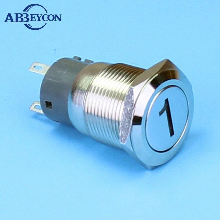 Latching IP67 19mm Flat Head Elevator 1V~220V Blue Led Number 1 Logo Illuminated Light Customized Logo Push Button Swtich