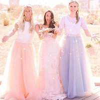 Colorful Princess Maxi Tulle Skirts For Bridesmaid 2016 Custom Made A Line Floor Length 5 Layers Tulle Wedding Party Skirts