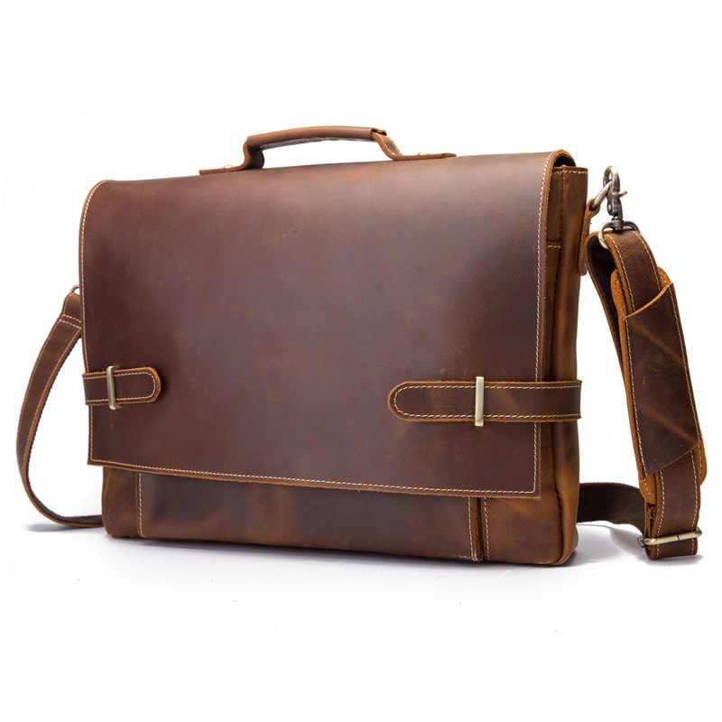 Leather Bag Men/'s Genuine Vintage Brown Messenger Shoulder Laptop Briefcase
