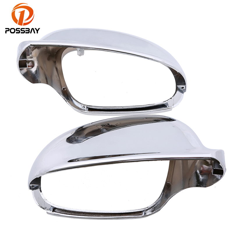 POSSBAY Chrome Car Side Mirror Housing Rearview Mirror Cover Caps for VW Golf Variant 2010 2014