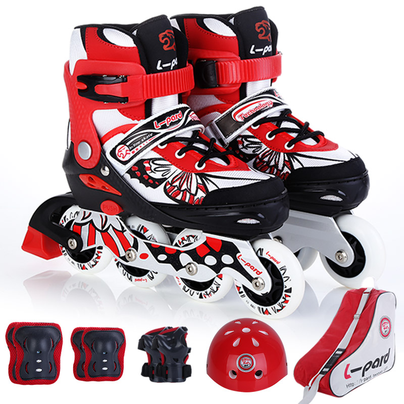 L-pard kid roller skates, adjust skate shoes with flash wheels, factory outlet skateboard roller skates shoes with protector children roller sneaker with one wheel led lighted flashing roller skates kids boy girl shoes zapatillas con ruedas